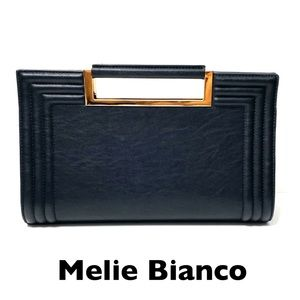 Melie Bianco Vegan Leather Rectangular Black Bag